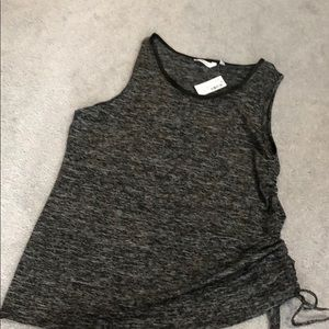 Tops - Black mix tank top. Tie up on the side. Size XXL